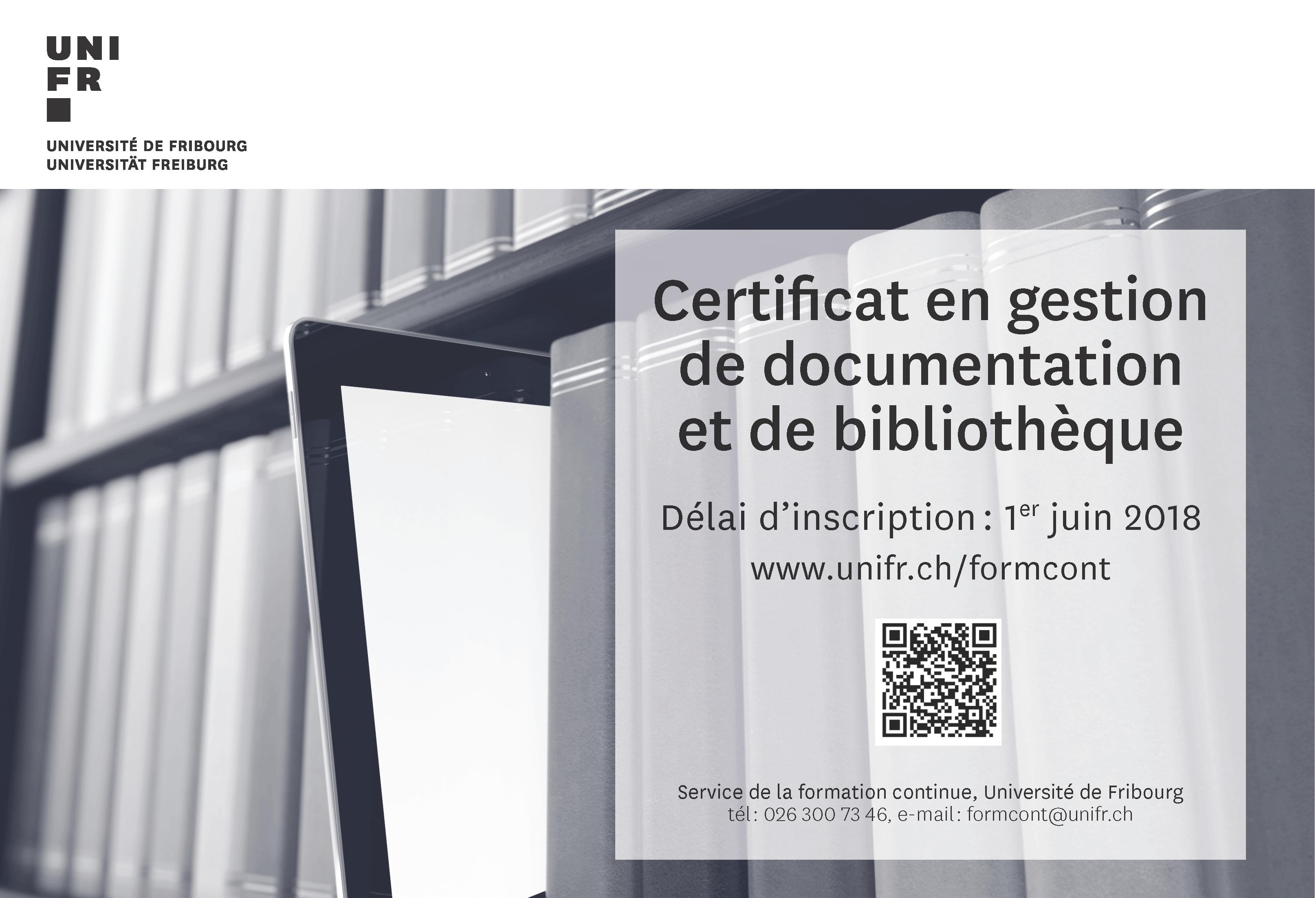 Université Fribourg Certificat Documentation Bibliothèque Février2018